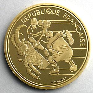 Numismatic foto  Coins French gold coins Monnaies Commémoratives XVI° Jeux Olympiques d'Hiver Albertville 92 500 Francs   1990   Hockey sur glace / Bouquetin    BE