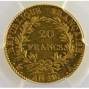 Numismatic foto  Coins French gold coins 20 Francs G.1020   20 Francs Bonaparte 1er Consul AN 12 A  (Paris)    PCGS-MS61    SUP+