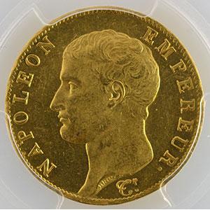 Numismatic foto  Coins French gold coins 40 Francs G.1081   40 Francs Napoléon Empereur An 13 A  (Paris)    PCGS-MS63    SUP/FDC