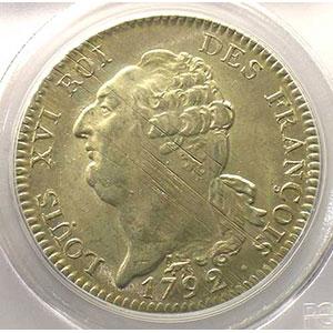 Numismatic foto  Coins French revolutionary coins G.55   Ecu de 6 Livres François 1792 A  2° sem.  (Paris)    PCGS-MS62    SUP/FDC