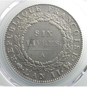 Numismatic foto  Coins French revolutionary coins G.58   Ecu de 6 Livres Convention 1793 A  (Paris)  An II, sans point    PCGS-AU53    TTB+