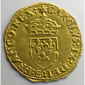 Numismatic foto  Coins French royal coins Charles IX   (1560-1574) Duplessy 1057   Ecu d'or au Soleil 1566 ou 1568 I  (Limoges)    TTB+/SUP