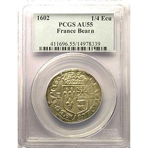 Numismatic foto  Coins French royal coins Henri IV    (1589-1610) Duplessy 1240    1/4 Ecu du Béarn 1602 Morlaas    PCGS-AU55    TTB+/SUP