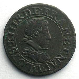 Numismatic foto  Coins French royal coins Louis XIII   (1610-1643) G.8   Double Tournois, buste juvén. col rabattu 1622 A  (Paris)    TTB