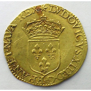 Numismatic foto  Coins French royal coins Louis XIII   (1610-1643) G.55   Ecu d'or 1637 D  (Lyon)    TTB+