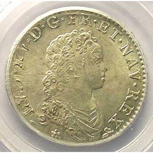 Numismatic foto  Coins French royal coins Louis XV   (1715-1774) G.308   1/2 Ecu Vertugadin 1716 B  réf.  (Rouen)    PCGS-MS63    SUP/FDC