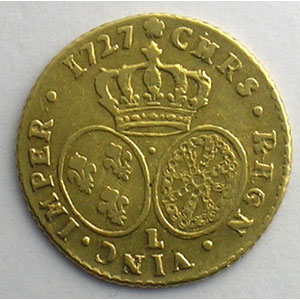 Numismatic foto  Coins French royal coins Louis XV   (1715-1774) G.329   Demi-Louis d'or aux lunettes 1727 L  (Bayonne)    TTB