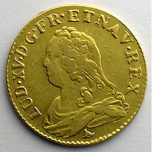 Numismatic foto  Coins French royal coins Louis XV   (1715-1774) G.340   Louis d'or aux lunettes 1738 I  (Limoges)    TB+