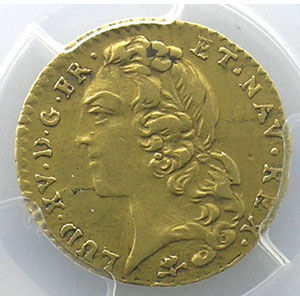 Numismatic foto  Coins French royal coins Louis XV   (1715-1774) G.330   Demi-Louis d'or au Bandeau 1746 S  (Reims)    PCGS-AU50    TTB/TTB+