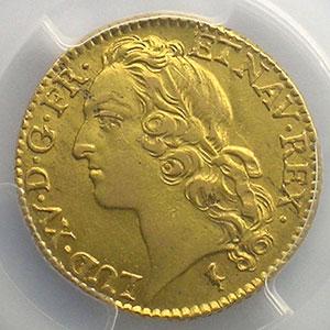 Numismatic foto  Coins French royal coins Louis XV   (1715-1774) G.341   Louis d'or au Bandeau 1747 W  (Lille)   PCGS-AU58    SUP