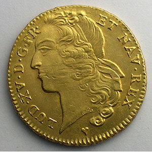 Numismatic foto  Coins French royal coins Louis XV   (1715-1774) G.346   Double louis d'or au bandeau 1749 BB  (Strasbourg)    TTB+/SUP