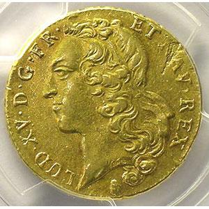 Numismatic foto  Coins French royal coins Louis XV   (1715-1774) G.346   Double louis d'or au bandeau 1757 Q  (Perpignan)    PCGS-XF45    TTB
