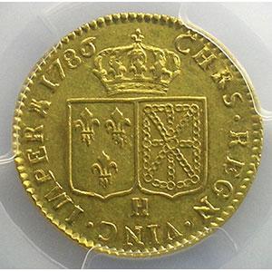 Numismatic foto  Coins French royal coins Louis XVI   (1774-1792) G.361   Louis d'or au buste nu 1786 H  (La Rochelle)  1er sem.    PCGS-AU55    TTB+/SUP