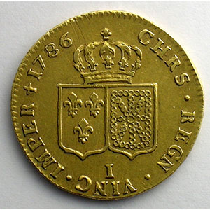 Numismatic foto  Coins French royal coins Louis XVI   (1774-1792) G.363   Double Louis d'or au buste nu 1786 I  (Limoges)  2° sem.   TTB