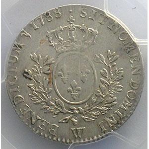 Numismatic foto  Coins French royal coins Louis XVI   (1774-1792) G.354   1/5 Ecu 1788 W  (Lille)    PCGS-AU53    TTB+
