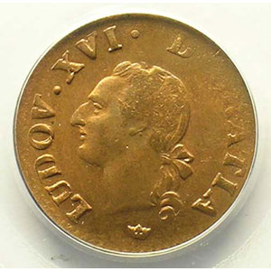 Numismatic foto  Coins French royal coins Louis XVI   (1774-1792) G.348   Liard 1789 M  (Toulouse)    PCGS-MS64RB    pr.FDC