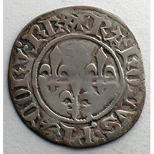 Numismatic foto  Coins French royal coins Charles VI   (1380-1422) Duplessy 393   Double Tournois 1ère émission   11 mars 1385    TB+