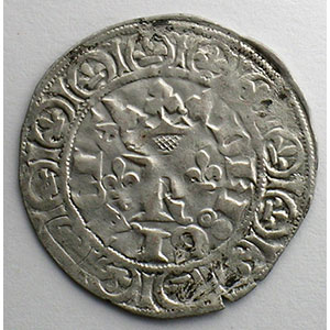 Numismatic foto  Coins French royal coins Charles V   (1364-1380) Duplessy 363   Blanc au K 20 avril 1365    TTB