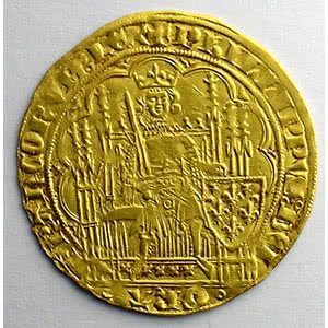 Numismatic foto  Coins French royal coins Philippe VI   (1328-1350) Duplessy 249   Ecu d'or à la chaise 3° émission   5 janvier 1348    TTB+