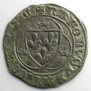 Numismatic foto  Coins French royal coins Charles VII   (1422-1461) Duplessy 519   Blanc à la couronne CI   Chinon    TB+/TTB