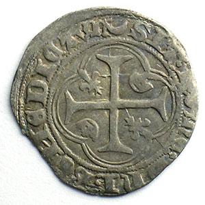 Numismatic foto  Coins French royal coins Charles VII   (1422-1461) Duplessy 519   Blanc à la couronne croissant et étoile   Chalon-en-Champagne    TB+/TTB