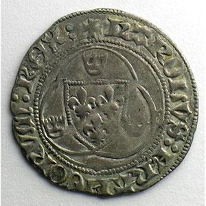 Numismatic foto  Coins French royal coins Charles VII   (1422-1461) Duplessy 519   Blanc à la couronne point 11°   Saint Pourçain    TB+/TTB