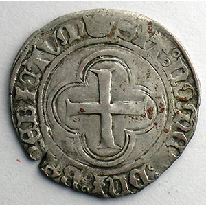 Numismatic foto  Coins French royal coins Charles VIII   (1483-1498) Duplessy 584   Blanc au Soleil Point 15°    Rouen    TB+