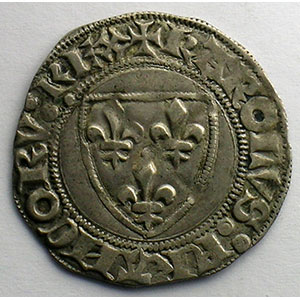 Numismatic foto  Coins French royal coins Charles VI   (1380-1422) Dupl. 377A   Blanc Guénar, 2° émission Point 16°  Tournai    TTB