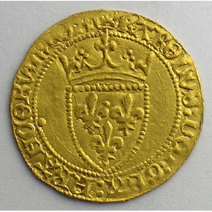Numismatic foto  Coins French royal coins Charles VII   (1422-1461) Duplessy 513   Demi Ecu d'or à la Couronne Point 18°  (Paris)    SUP