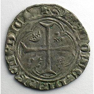 Numismatic foto  Coins French royal coins Charles VII   (1422-1461) Duplessy 519   Blanc à la couronne point 1er   Crémieu    TB+
