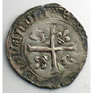 Numismatic foto  Coins French royal coins Charles VIII   (1483-1498) Duplessy 589   Douzain du Dauphiné point 2°   Romans    TB+