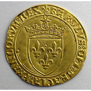 Numismatic foto  Coins French royal coins Charles VIII   (1483-1498) Duplessy 575   Ecu d'or au soleil Point 21°   Chalon-en-Champagne    TTB+