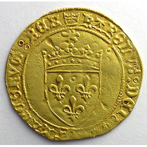 Numismatic foto  Coins French royal coins Charles VIII   (1483-1498) Duplessy 575   Ecu d'or au soleil Point 4°  Montpellier    TTB
