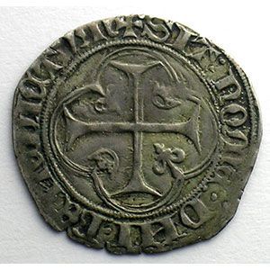 Numismatic foto  Coins French royal coins Charles VII   (1422-1461) Duplessy 519   Blanc à la couronne point 4°   Montpellier    TTB