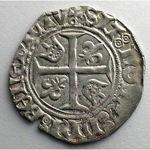 Numismatic foto  Coins French royal coins Charles VI   (1380-1422) Dupl. 377D   Blanc Guénar, 5° émission Point sous la croisette   Paris    TTB