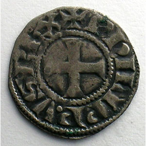 Numismatic foto  Coins French royal coins Philippe IV   (1285-1314) Duplessy 223   Denier Tournois à l'O rond TTB