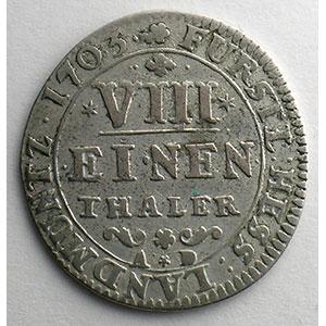 Numismatic foto  Coins Germany Hesse-Cassel Charles   (1670-1730) 1/8 Thaler   1703    TB+/TTB