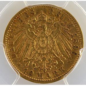 Numismatic foto  Coins Germany Grand-Duché de Mecklenbourg-Schwerin Frédéric-François III   (1883-1897) 10 Mark   1890 A    PCGS-AU55    TTB+/SUP