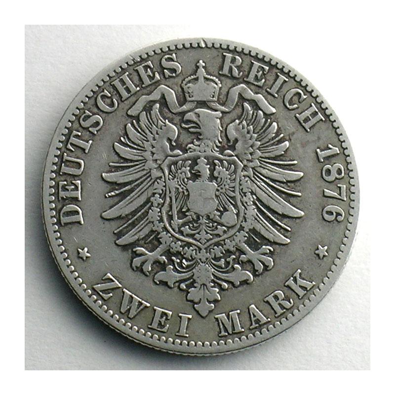 Numismatic foto  Coins Germany Duchy of Anhalt-Dessau Frédéric I   (1871-1904) 2 Mark   1876 A    TB+