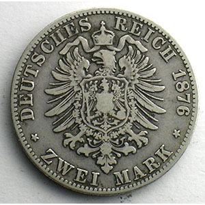 Numismatic foto  Coins Germany Kingdom of Bavaria Louis II   (1864-1886) 2 Mark   1876 D (Münich)    TB+