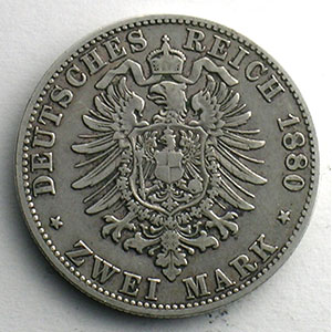 Numismatic foto  Coins Germany Kingdom of Bavaria Louis II   (1864-1886) 2 Mark   1880 D (Münich)    TB+/TTB