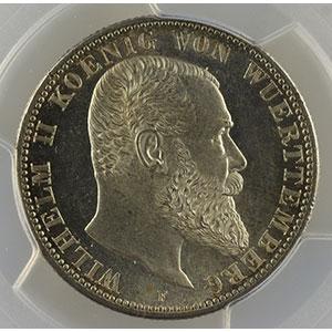 Numismatic foto  Coins Germany Kingdom of Wurttemberg Guillaume II   (1891-1918) 2 Mark   1906 F  (Stuttgart)    PCGS-MS64    pr.FDC