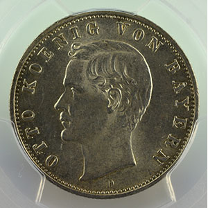 Numismatic foto  Coins Germany Kingdom of Bavaria Otto   (1886-1913) 2 Mark   1907 D  (Münich)    PCGS-MS63    SUP/FDC