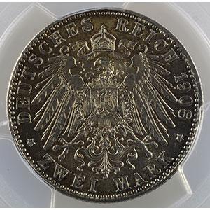 Numismatic foto  Coins Germany Kingdom of Bavaria Otto   (1886-1913) 2 Mark   1908 D  (Münich)    PCGS-MS64    pr.FDC