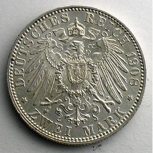 Numismatic foto  Coins Germany Kingdom of Bavaria Otto   (1886-1913) 2 Mark   1908 D (Münich)    SUP
