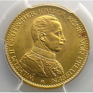 Numismatic foto  Coins Germany Kingdom of Prussia Guillaume II   (1888-1918) 20 Mark   1913 A    PCGS-MS64    pr.FDC