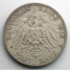 Numismatic foto  Coins Germany Kingdom of Saxony Frédéric Auguste III   (1904-1918) 3 Mark   1913 E  (Dresde)    SUP/FDC