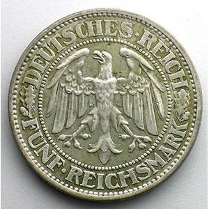 Numismatic foto  Coins Germany Weimar republic 5 Reichsmark   1932 A   Eichbaum    TB+/TTB