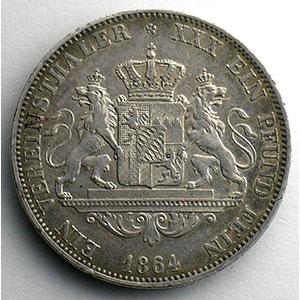 Numismatic foto  Coins Germany Kingdom of Bavaria Maximilien II Josef   (1848-1864) Vereinstaler   1864    TTB