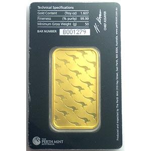Numismatic foto  Coins Gold and Silver Lingots d'or Lingotin de 50 g Lingotin 50 g or 999,9 mill.   Perth Mint Australia     NEUF sous blister numéroté